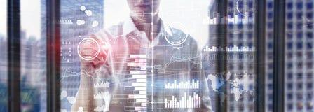 Бизнес-аналитика Диаграмма, диаграмма, торговля акциями, приборная панель вклада, прозрачная запачканная предпосылка стоковая фотография