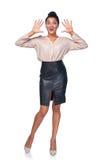 Бизнес-леди давая поддельное приветствие Стоковые Изображения RF