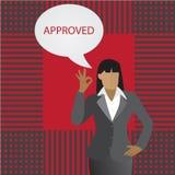 Бизнес-леди вектора думая о одобренный Стоковая Фотография