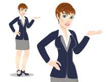 Бизнес-леди во всю длину над иллюстрацией вектора Стоковые Фотографии RF