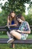 2 бизнес-леди в парке для того чтобы купить компьтер-книжку Стоковое Изображение RF