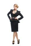Бизнес-леди в черном элегантном костюме, Стоковое Изображение