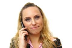 Бизнес-леди говоря на телефоне - изолированном над белизной Стоковое Фото