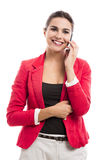 Бизнес-леди говоря на телефоне Стоковое фото RF