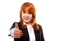 Бизнес-леди готовая к изолированному рукопожатию Стоковые Фото