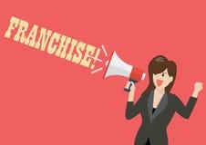 Бизнес-леди держа мегафон с франшизой слова бесплатная иллюстрация