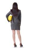 Бизнес-леди держа шляпу стоковое изображение rf