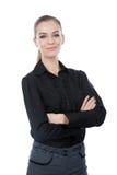 Бизнес-леди изолированная на белизне. Пересеченные оружия. Стоковое Изображение RF