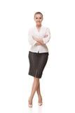 Бизнес-леди изолированная над белой предпосылкой Стоковое Изображение