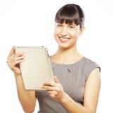Бизнес-леди использует передвижной планшет стоковая фотография
