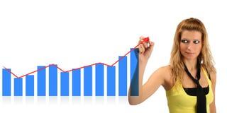 Бизнес-леди и диаграмма стоковая фотография