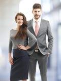 Бизнес-леди и портрет бизнесмена Стоковые Фотографии RF