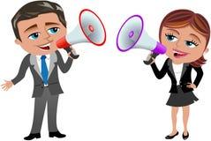 Бизнес-леди и человек говоря в мегафоне Стоковое фото RF