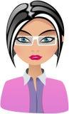 Бизнес-леди моды с белыми зрелищами иллюстрация штока