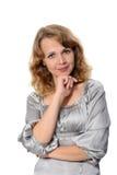 Бизнес-леди над белой предпосылкой Стоковые Фотографии RF