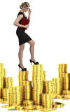 Бизнес-леди на лестницах стоковые фото
