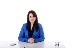 Бизнес-леди на таблице Стоковое Изображение