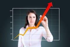 Бизнес-леди писать над диаграммой достижения. стоковые фотографии rf