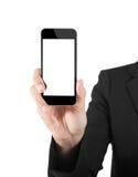 Бизнес-леди показывая пустой дисплей сотового телефона черни касания стоковые фотографии rf