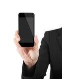 Бизнес-леди показывая пустой дисплей сотового телефона черни касания стоковое изображение