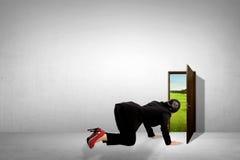 Бизнес-леди принимает взгляд украдкой через малую дверь стоковые фото