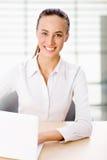 Бизнес-леди работая на компьтер-книжке Стоковые Изображения