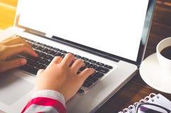 Бизнес-леди работая на портативном компьютере в офисе Стоковые Изображения RF