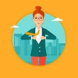 Бизнес-леди раскрывая ее куртку любит супергерой Стоковое Изображение