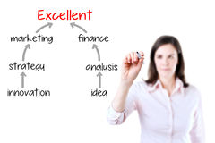 Бизнес-леди рисуя маркетинговый план к высокому профессионализму Изолировано на белизне стоковые изображения rf