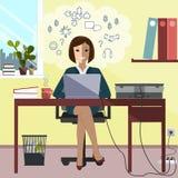 Бизнес-леди сидя на портативном компьютере стола работая также вектор иллюстрации притяжки corel Стоковое фото RF