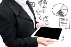 Бизнес-леди с данными по дела сочинительства руки стоковые изображения