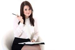 Бизнес-леди с блокнотом Стоковые Изображения