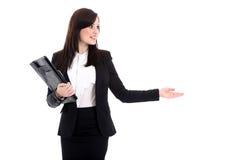Бизнес-леди с блокнотом Стоковые Изображения RF