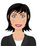 Бизнес-леди с глазами серого цвета черных волос иллюстрация штока