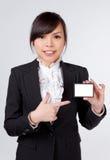Бизнес-леди с карточкой имени Стоковое Фото