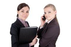 Бизнес-леди с папкой и телефоном файла стоковые фото