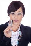 Бизнес-леди с ручкой Стоковое фото RF