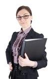 Бизнес-леди с стеклами и папкой файла стоковые фотографии rf
