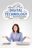 Бизнес-леди с таблеткой и компьтер-книжкой под wordcloud технологии стоковые изображения