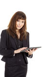 Бизнес-леди с таблеткой Стоковые Изображения