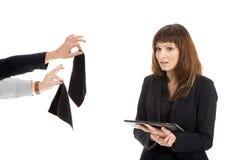 Бизнес-леди с таблеткой Стоковое Фото
