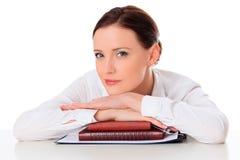 Бизнес-леди с тетрадями стоковые изображения rf