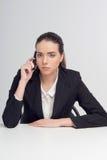 Бизнес-леди с телефоном Стоковое Изображение RF