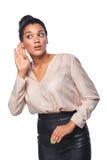 Бизнес-леди слушая к сплетне стоковое изображение rf