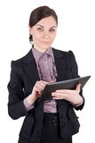 Бизнес-леди с цифровой таблеткой стоковая фотография