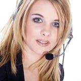 Бизнес-леди с шлемофоном Стоковые Фото