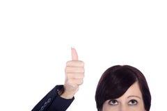 Бизнес-леди с thumps вверх Стоковое Изображение RF