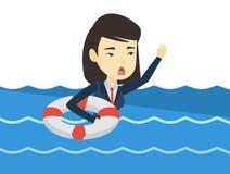 Бизнес-леди тонуть и прося помощь иллюстрация штока