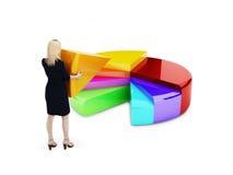 Бизнес-леди устанавливая раздел пестротканой долевой диограммы 3d. стоковое изображение rf