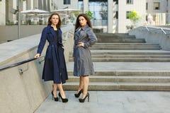 2 бизнес-леди в пальто обсуждают на предпосылке  Стоковое Фото
